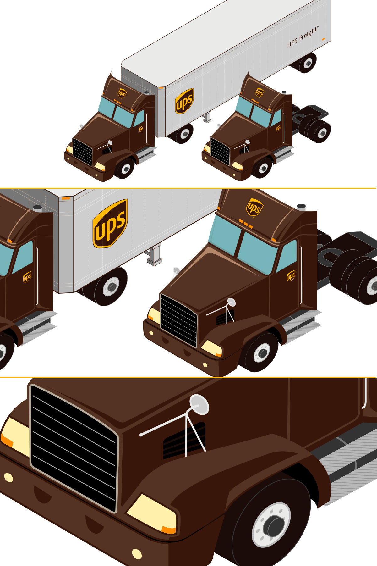 Isometric Illustration UPS Freight Truck