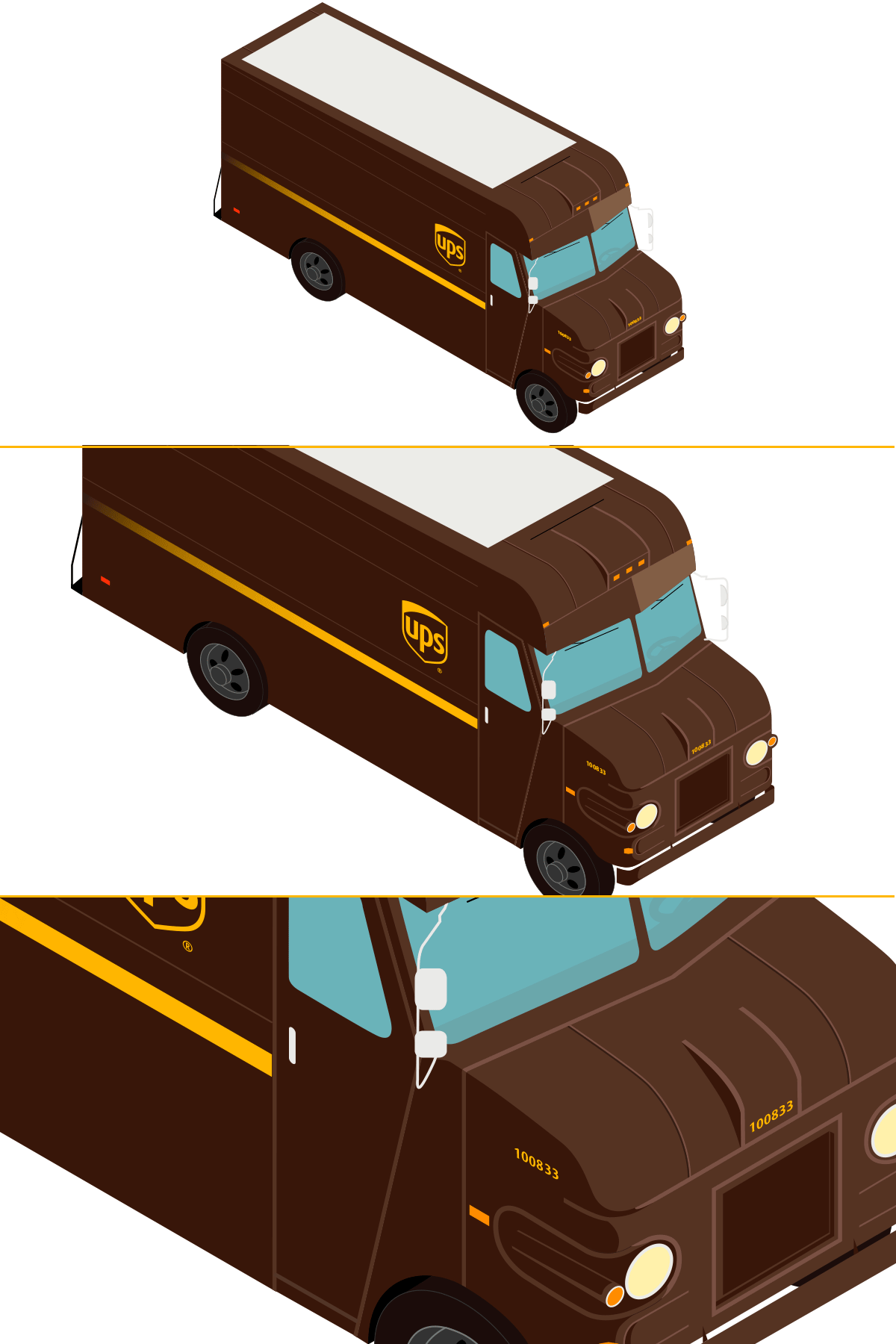 Isometric Illustration UPS Package Car